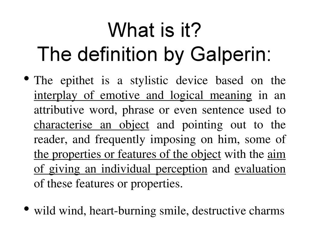 definition of epithets by galperin