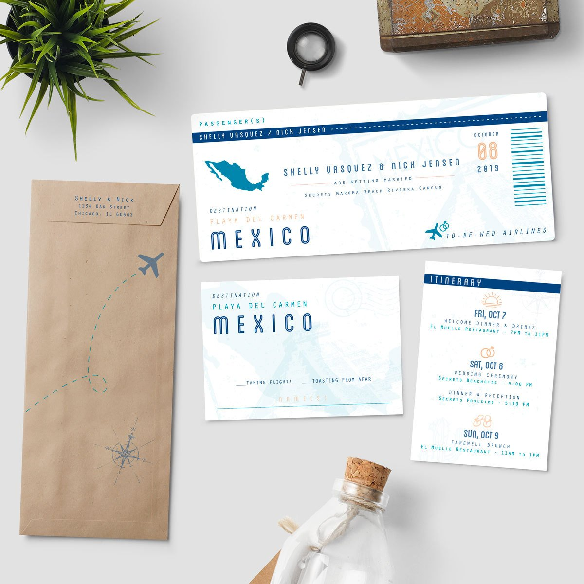 destination wedding ceremony boarding pass ticket example