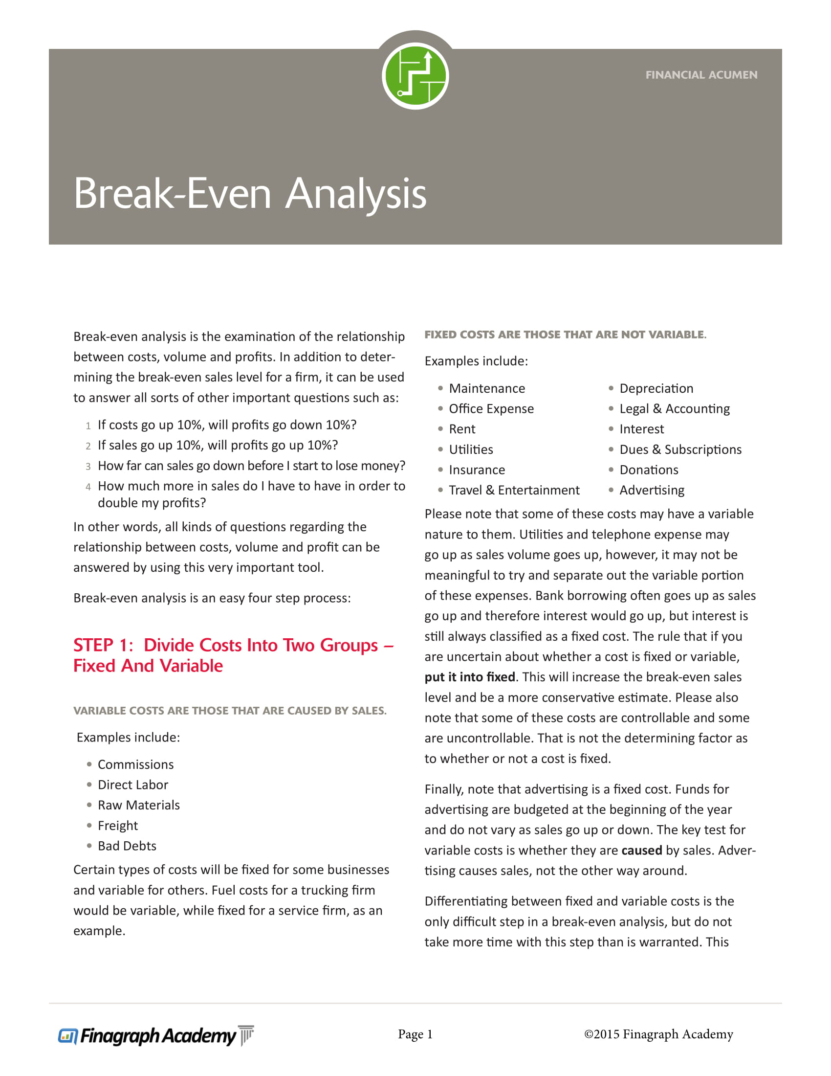 detailed break even analysis example
