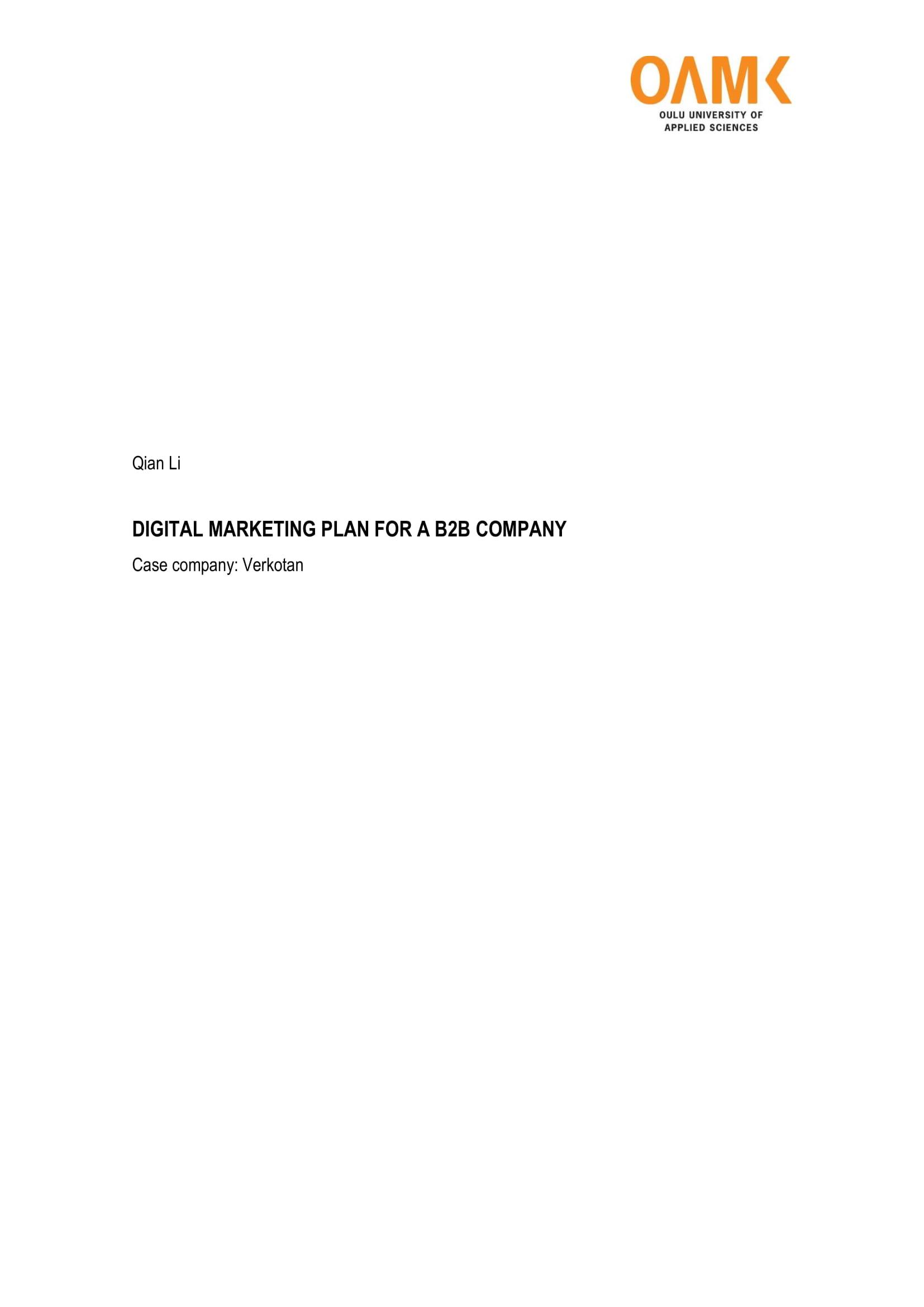 digital marketing plan with social media strategic usage for a b2b company 01