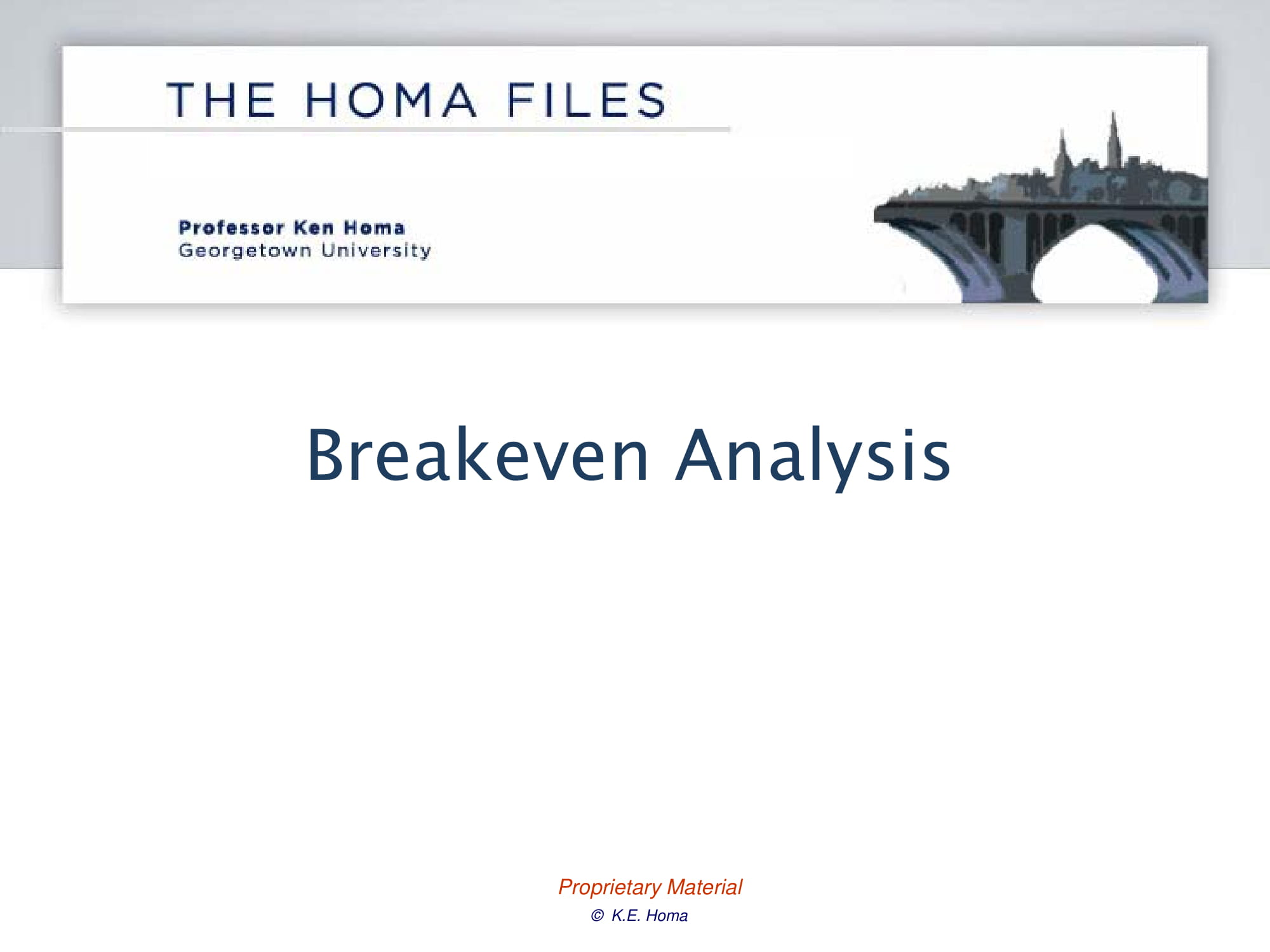 discussion on break even analysis example
