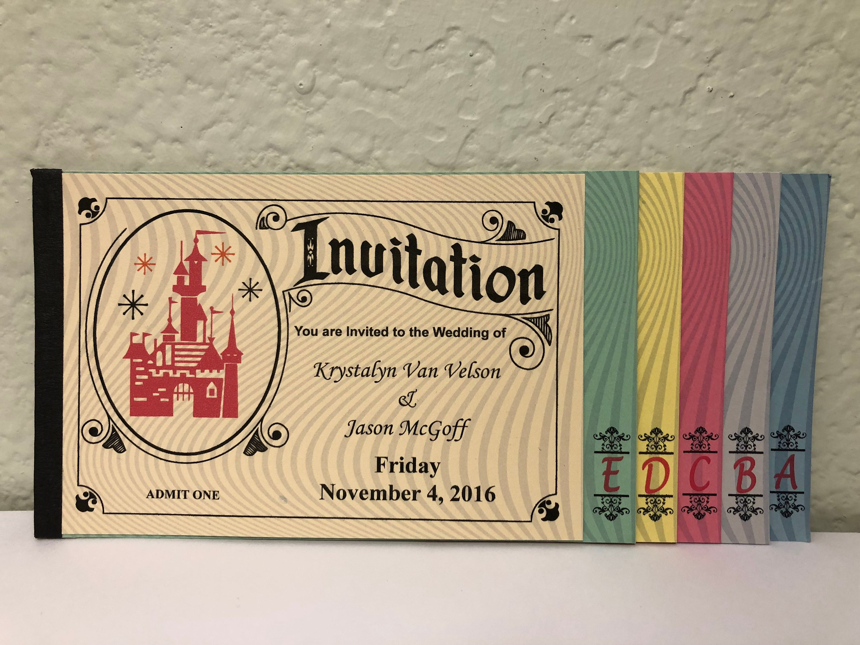 disney wedding ticket invitation example