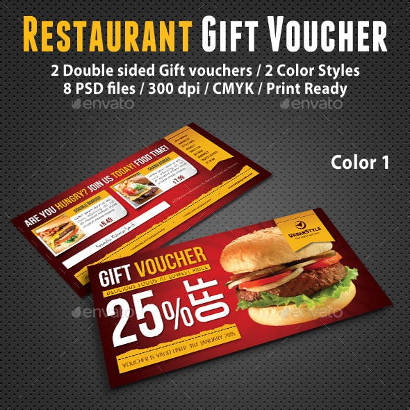 double sided restaurant gift voucher design