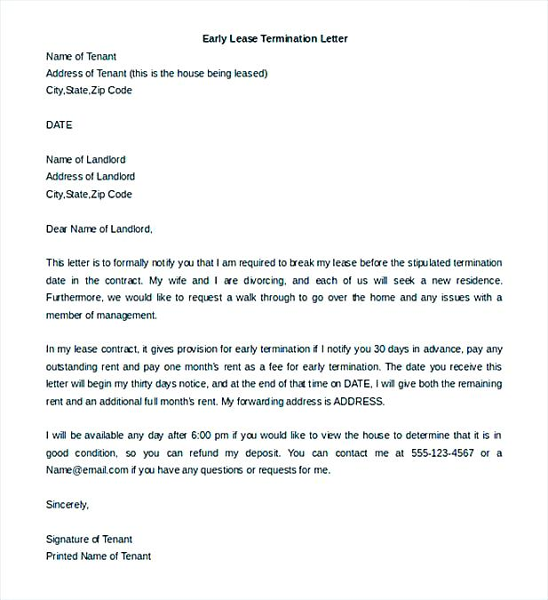 End Of Lease Termination Letter Sample