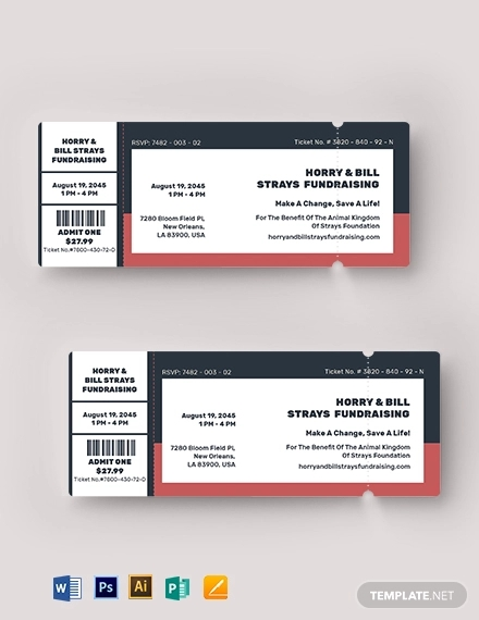 editable fundraiser ticket template