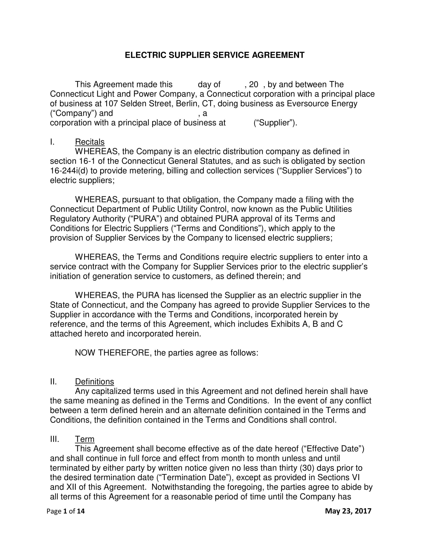 electric supplier service agreement contract template example 01