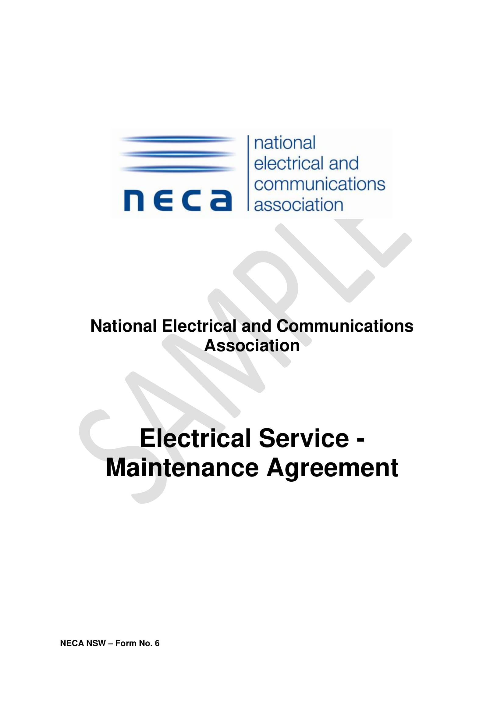 electrical service maintenance agreement contract template example 1