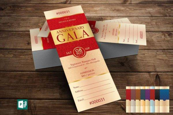 elegant anniversary gala ticket publisher template example