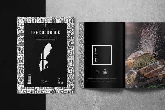 elegant minimalist cookbook catalog design