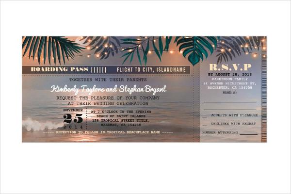 elegant wedding boarding pass ticket invitation1