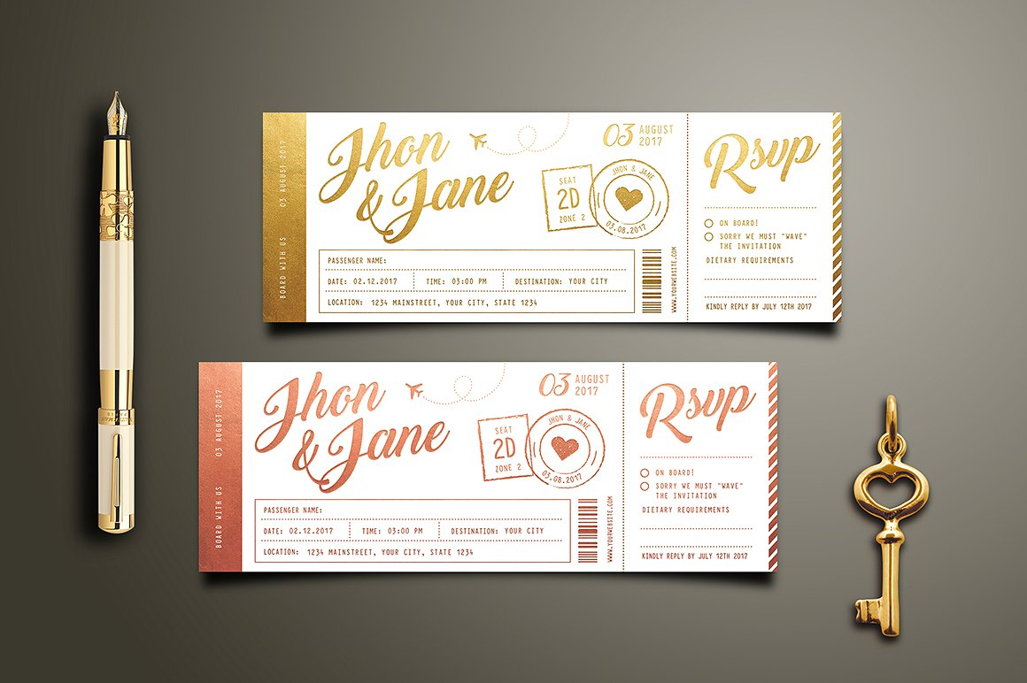 elegant wedding invitation ticket example