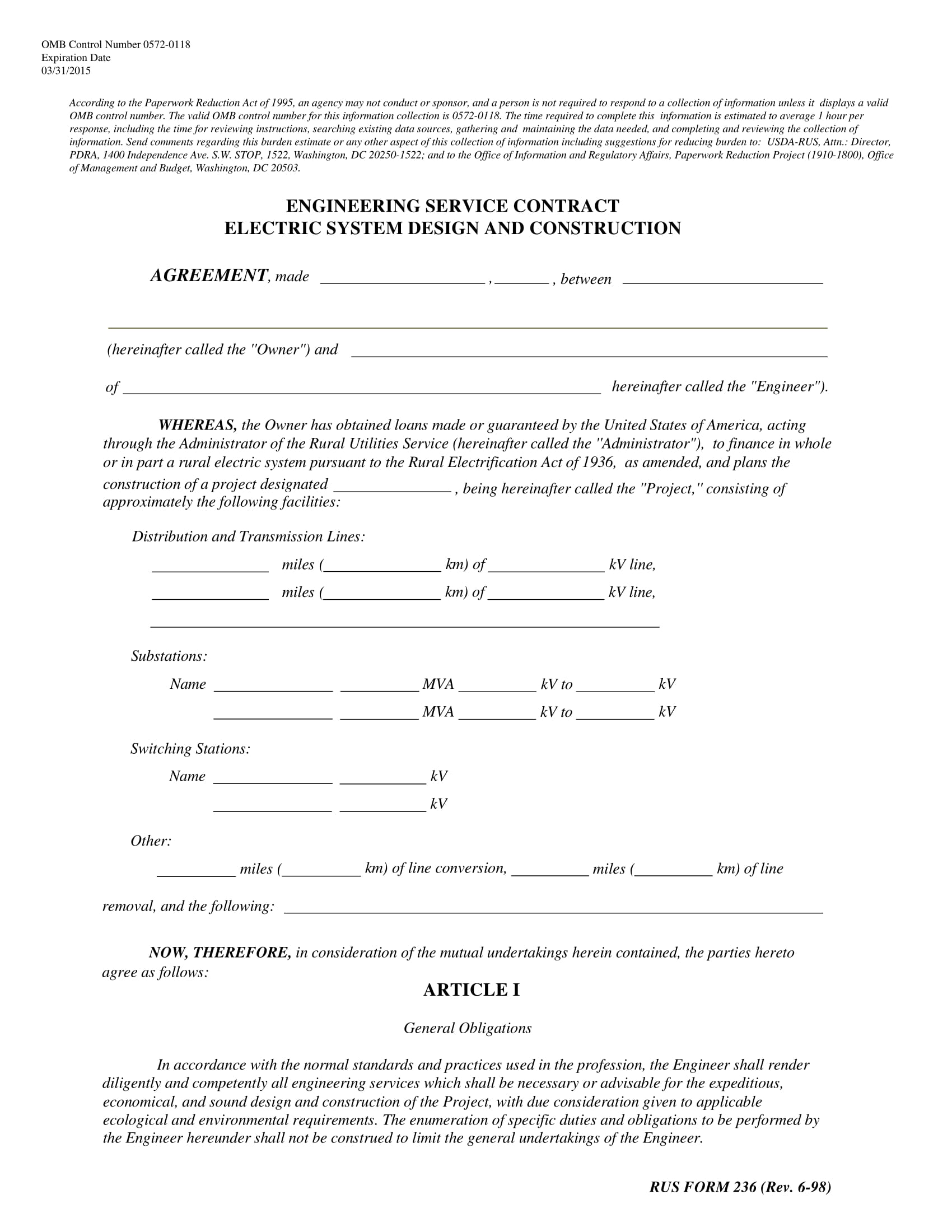 engineering service contract agreement on electric system design and construction template example 01