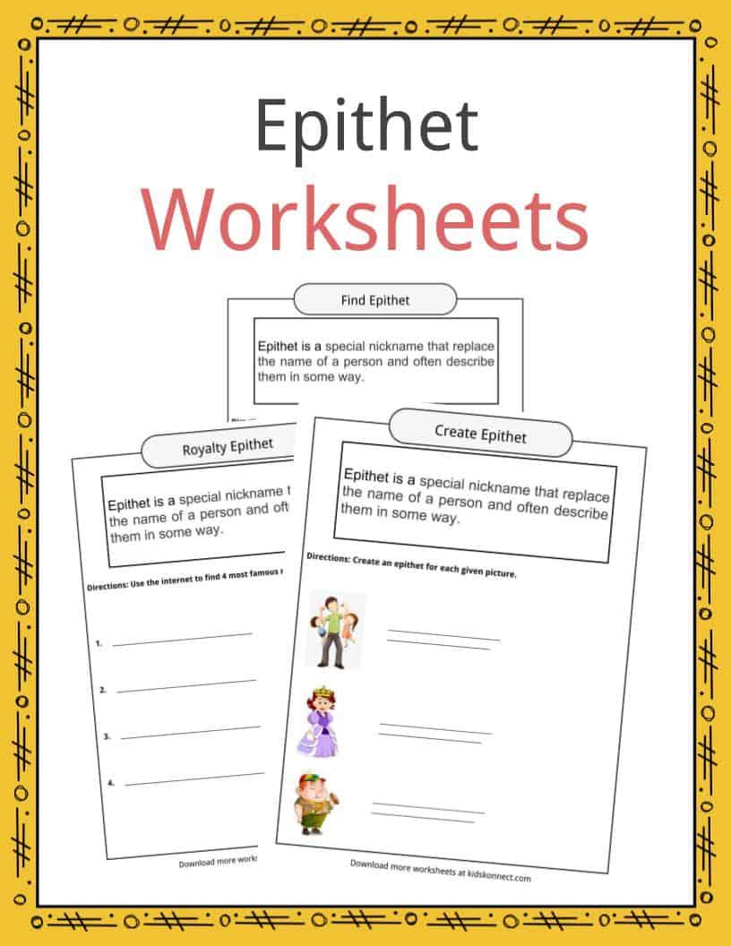 epithet worksheets