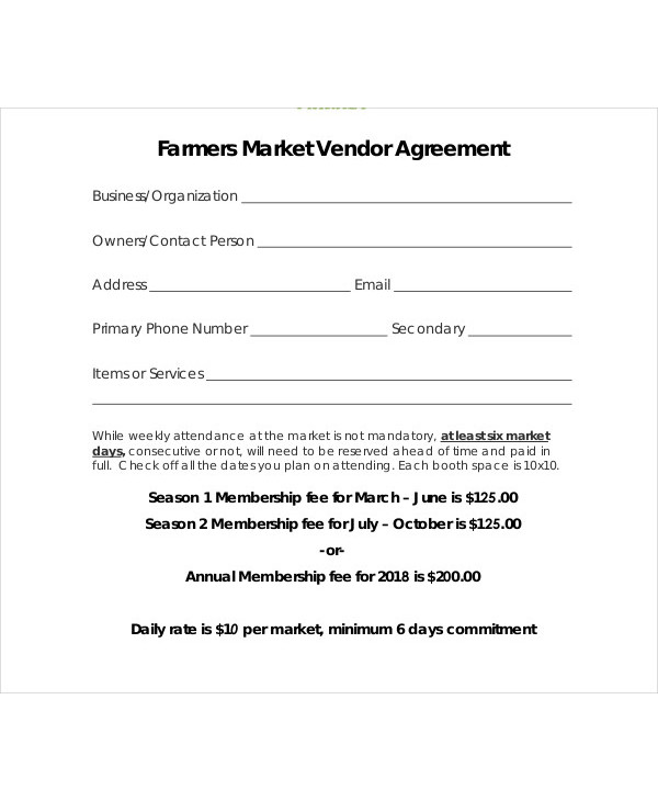 farmers market vendor agreement