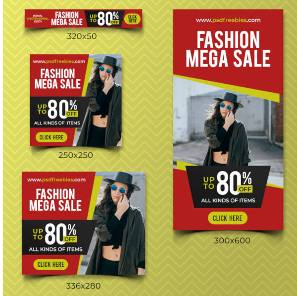 fashion sale ad banner psd set
