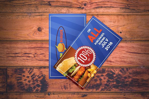 fast food restaurant voucher design example