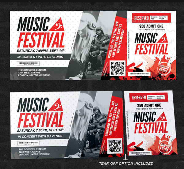 festival multipurpose event ticket