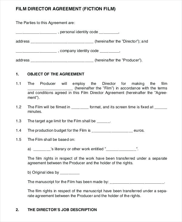 film director agreement template