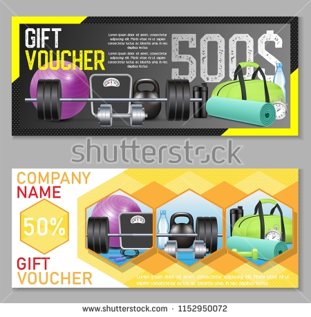 fitness gift coupon template set example
