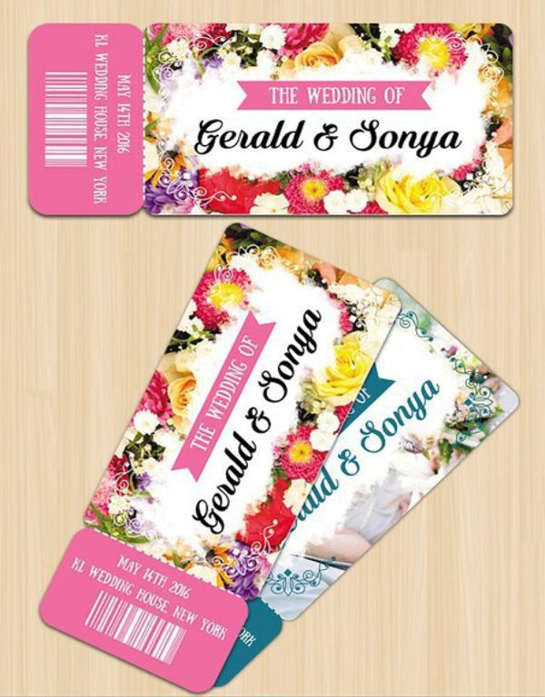 floral wedding invitation ticket example