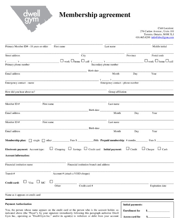 formal gym membership agreement contract example1
