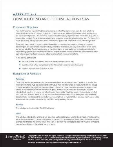free effective action plan construction example