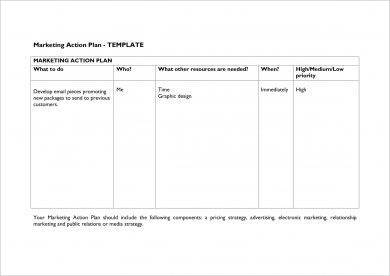 free marketing action plan template example