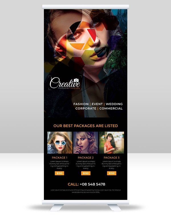 free photography roll up banner template