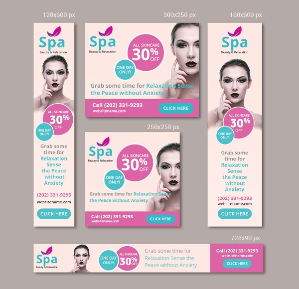 free spa ad banner template