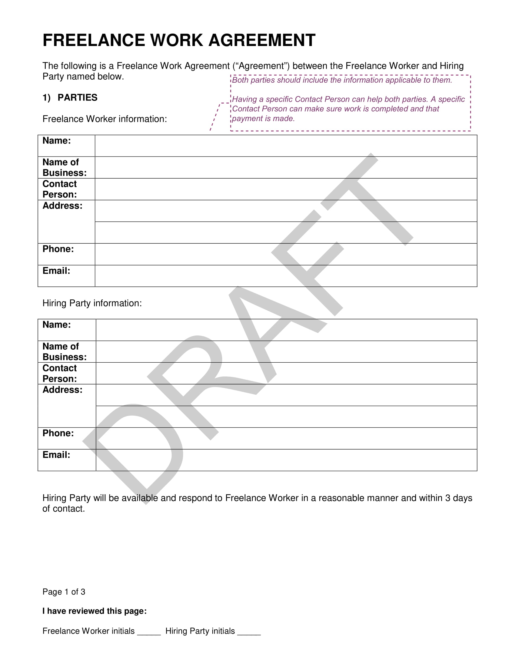 freelance work agreement contract for developers template example 1