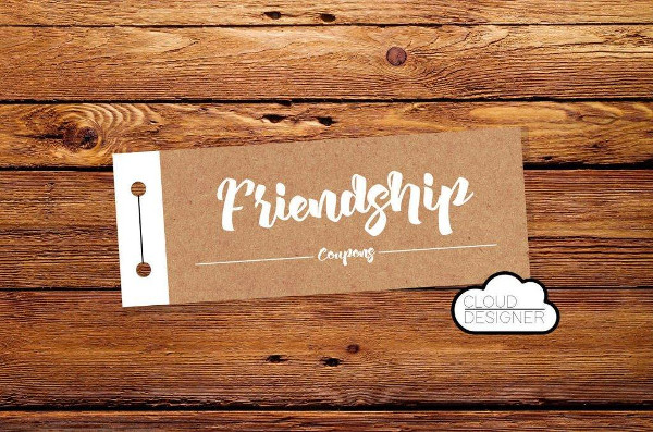 friendship blank coupon example