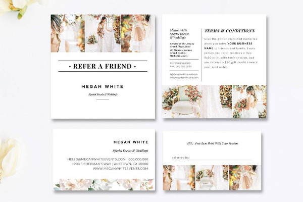 fully customizable photography referral card example