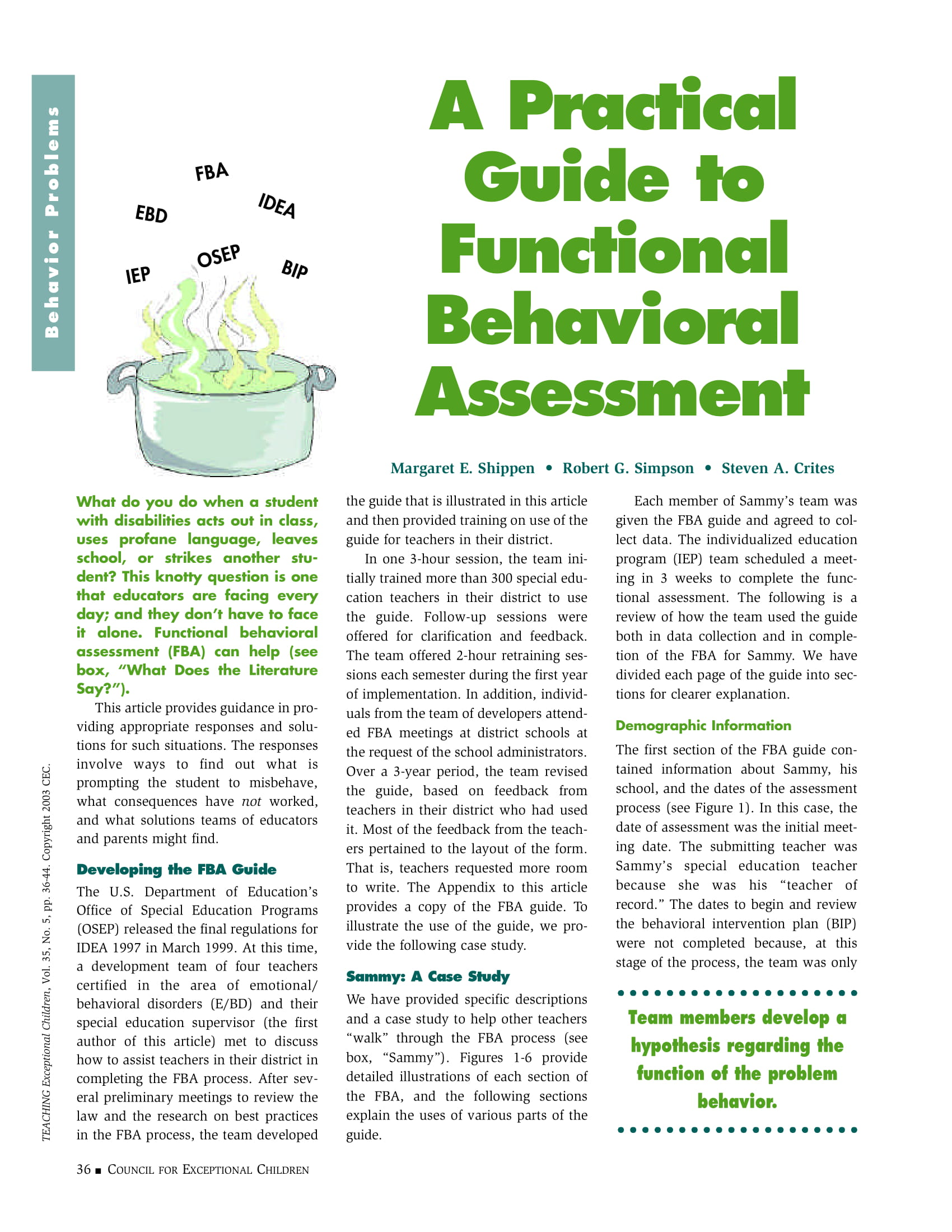 functional behavioral assessment practical guide example 1