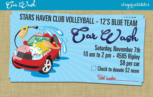 fundraiser car wash poster invitation event ticket