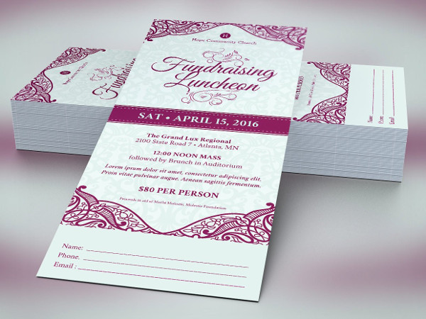 fundraising luncheon ticket template example