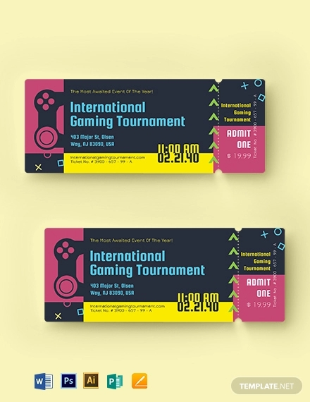 gaming event ticket template