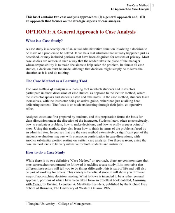 general approach to case study analysis1