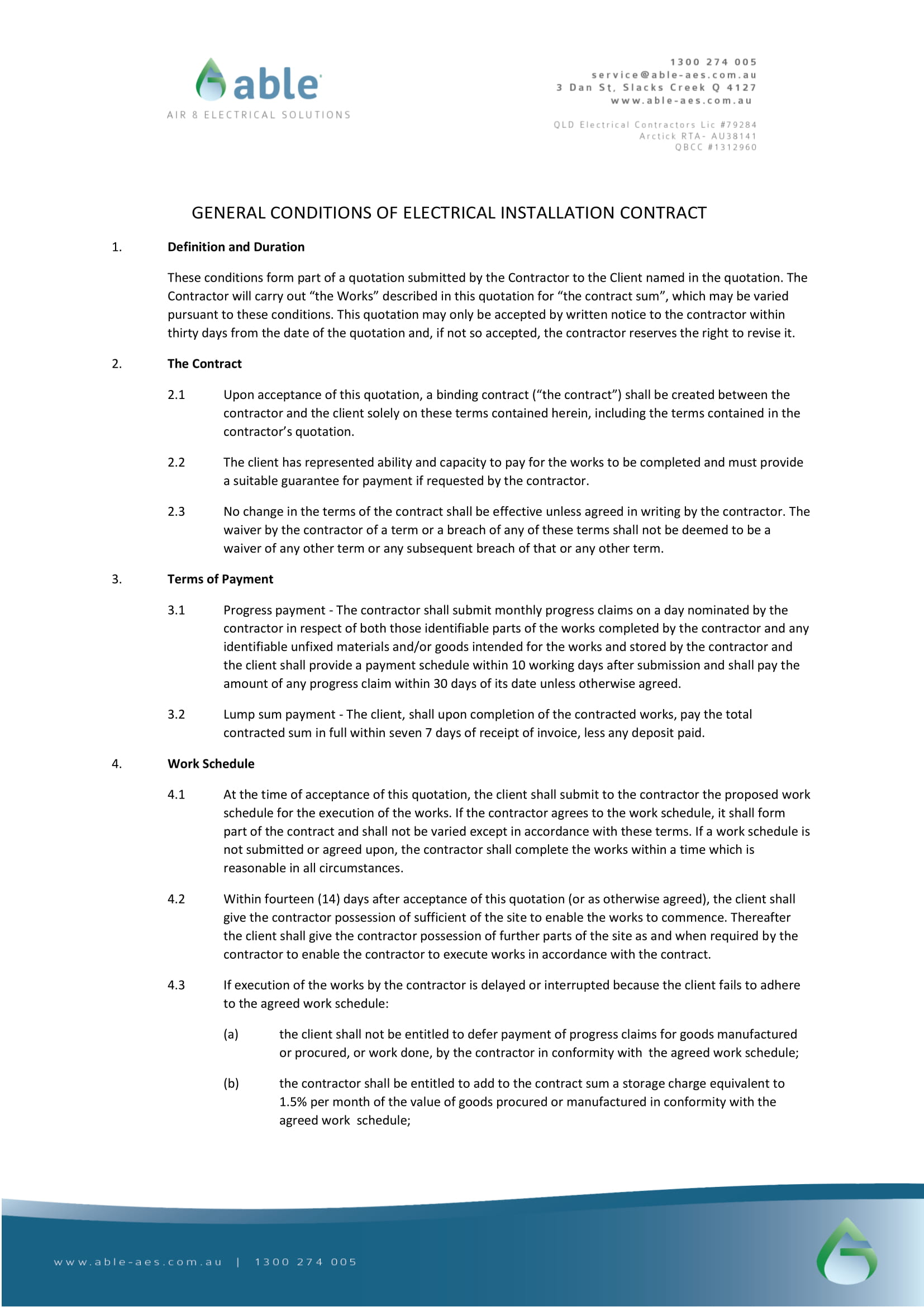 general conditions of electrical installation contract template example 1