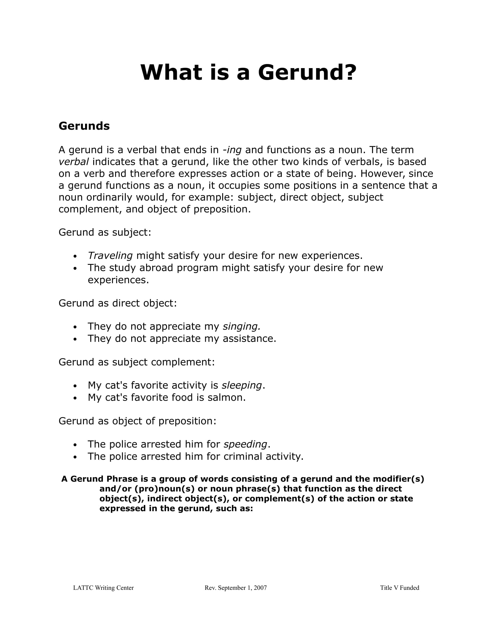 gerund study sheet example