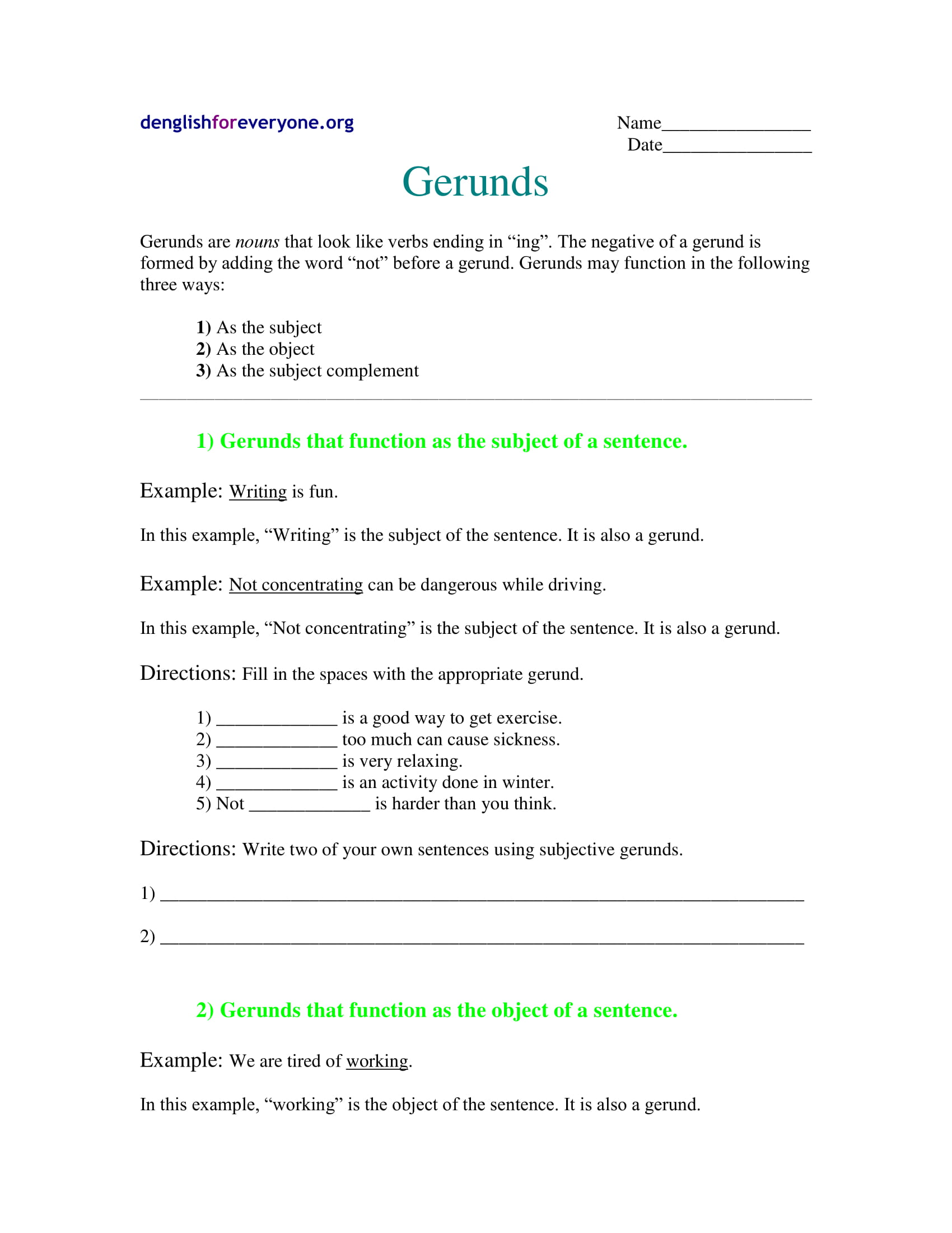 gerund worksheet example