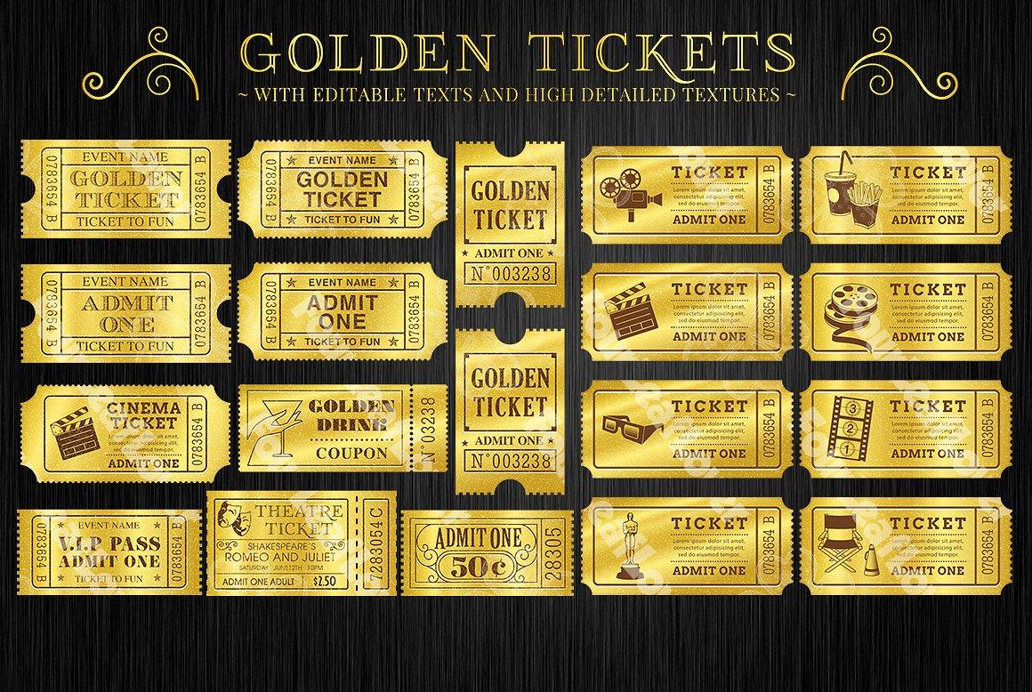 gold movie ticket invitation example
