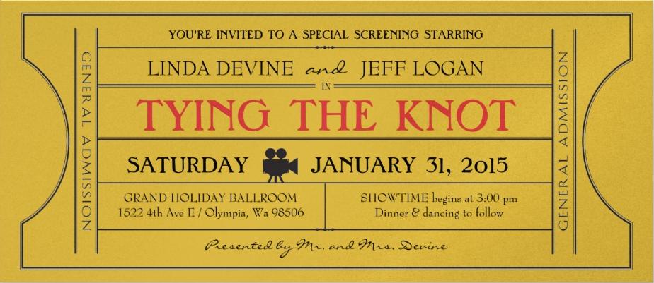 gold vintage ticket event invitation