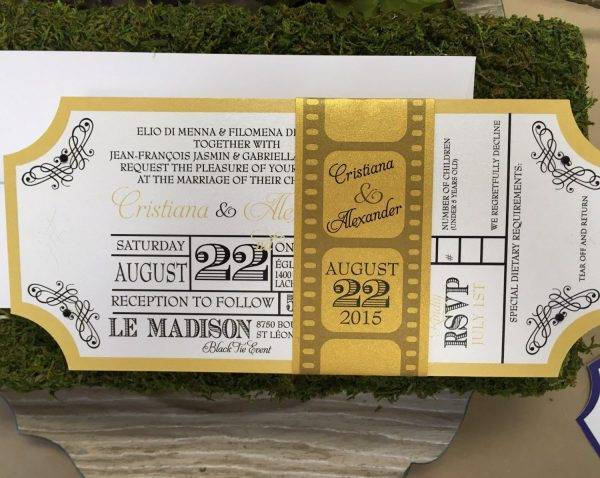 gold and black movie ticket invitation design