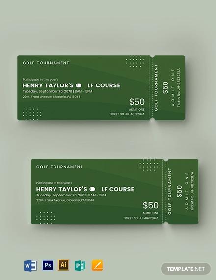 golf event ticket template
