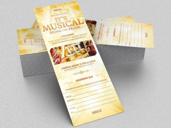 gospel music concert ticket design example