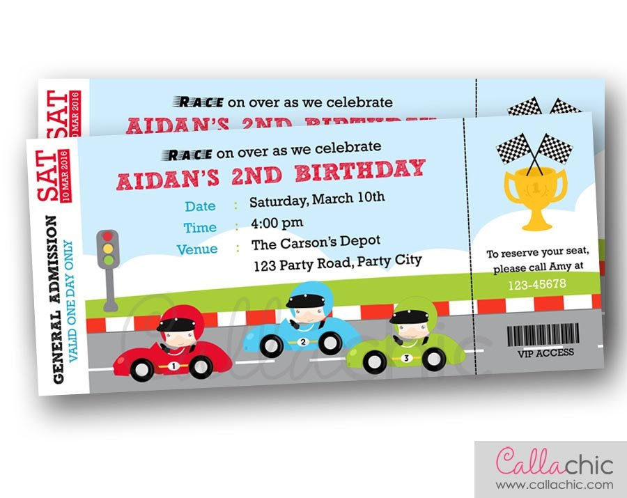 grand prix birthday boarding pass invitation ticket example
