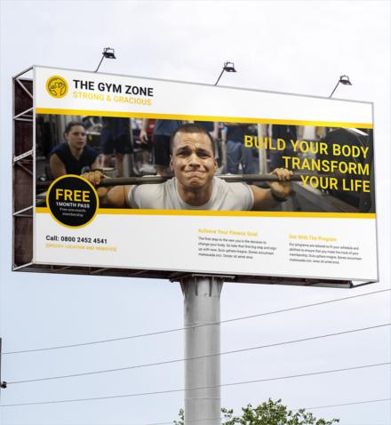 gym billboard banner template