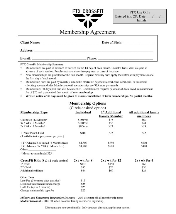 gym membership agreement contract template1