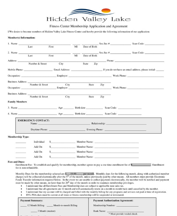 Gym Membership Application And Contract Example