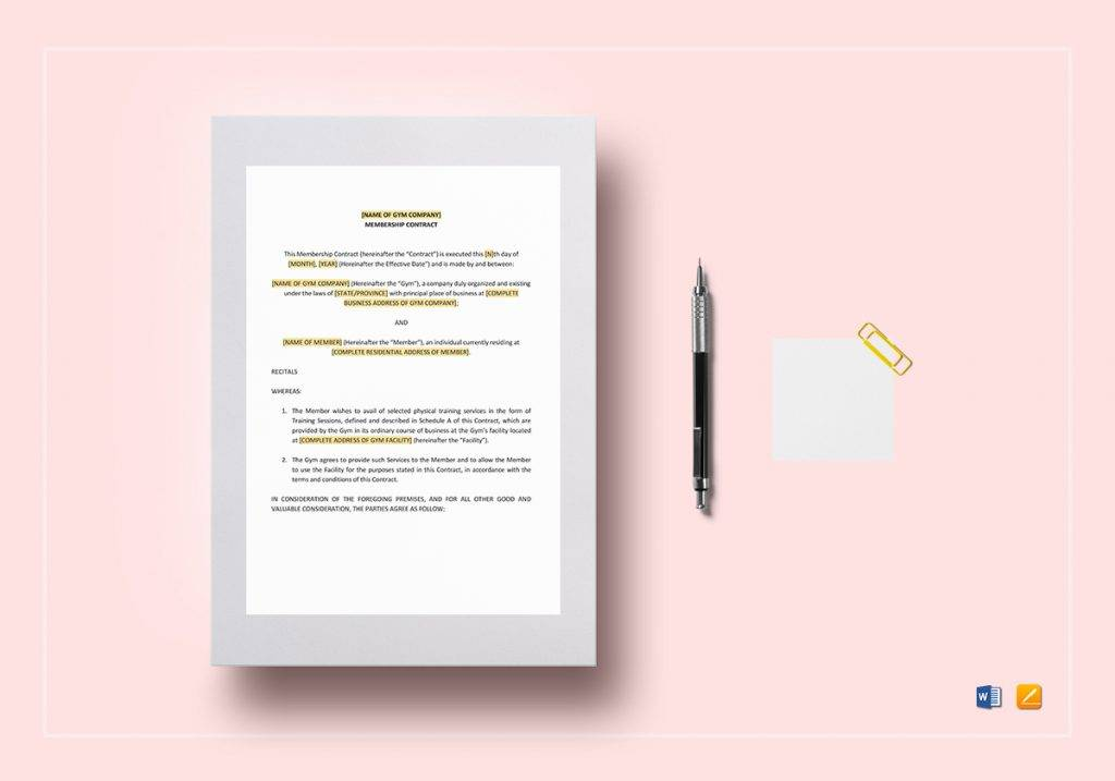 9 Gym Membership Contract Examples Pdf Word Apple Pages